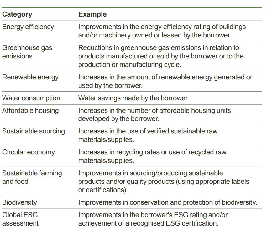 Examples of Sustainability Performance Targets