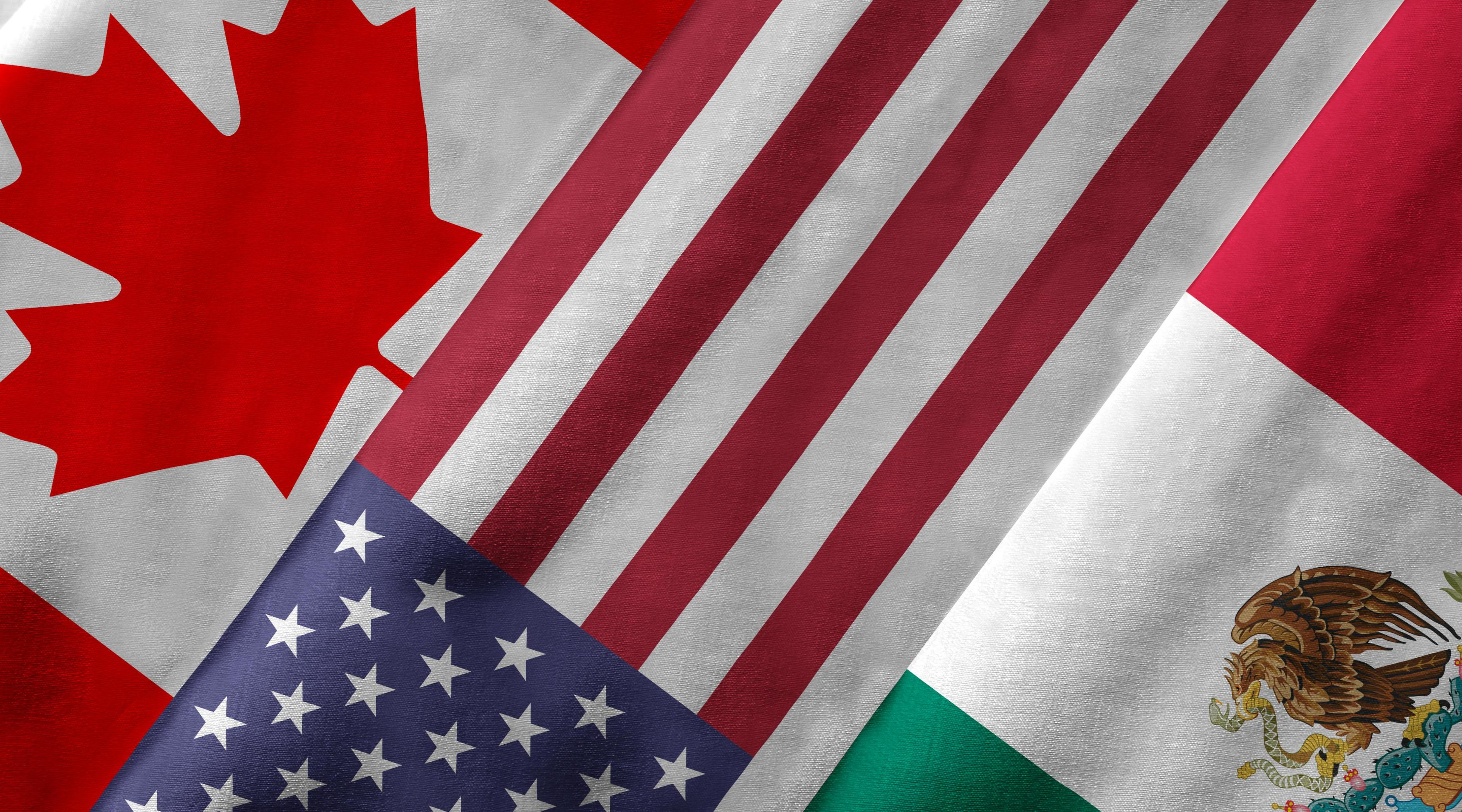 Us, Canada and Mexico Flags.